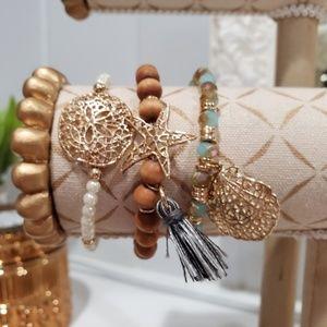 Jewelry - Set of 3 Beaded Bracelets Pearl Wood Blue Brown